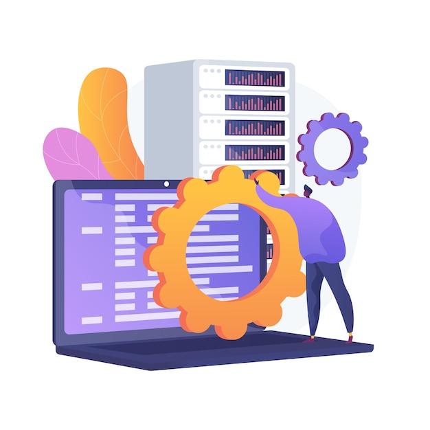 Сервисное обслуживание серверов. передача информации, настройка оборудования. идея сетевого сервера. хостинговые технологии, хранение баз данных, оборудование для программирования. векторная иллюстрация изолированных концепции метафоры Бесплатные векторы