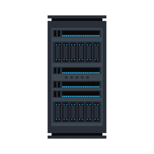 Server rack icon. data warehouse, storage center hardware design element. information technology hub. database network equipment. cloud computing host server. Premium Vector