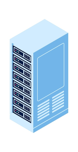 Server rack isolated isometric vector icon, equipment for cloud computing and information storage Free Vector