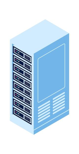 Стойка сервера изолировала изометрическую векторную иконку, оборудование для облачных вычислений и хранения информации Бесплатные векторы