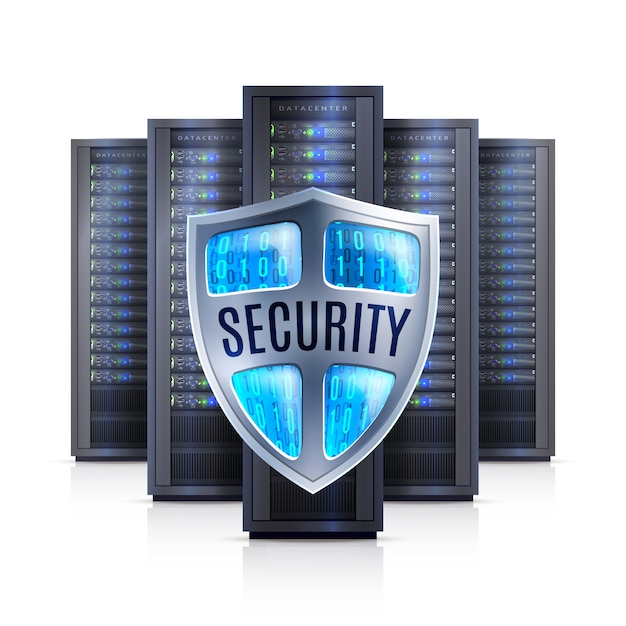 Server rack security shield realistic  illustration Free Vector