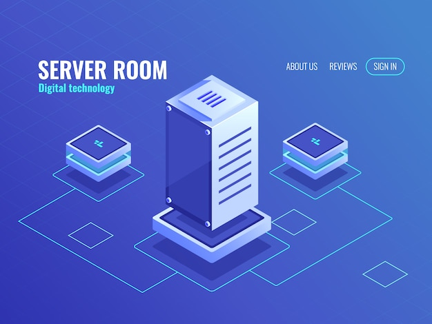 Server room, big data processing center and database, computer digital technology Free Vector