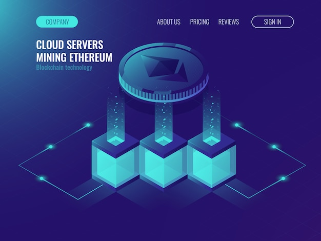 Server room, block chain texhnology, crypto currency mining Free Vector