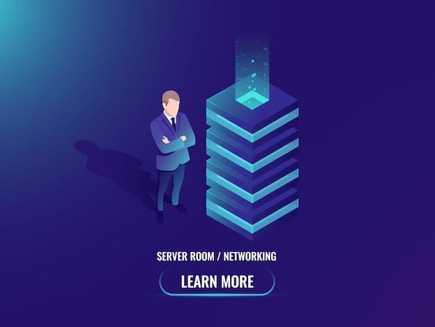 Server room, cloud storage concept, super computer, big data processing Free Vector