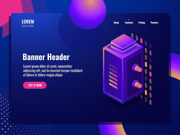 Server room, isometric digital technology abstract element, data center and database banner Free Vector