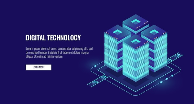 Server room isometric, futuristic technology of data protection and processing Free Vector