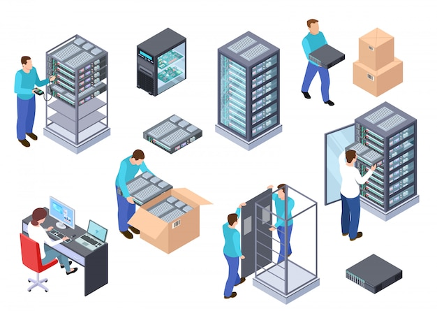 Server room isometric. information technology server engineer, telecommunication cloud servers, computers and employees   set Premium Vector