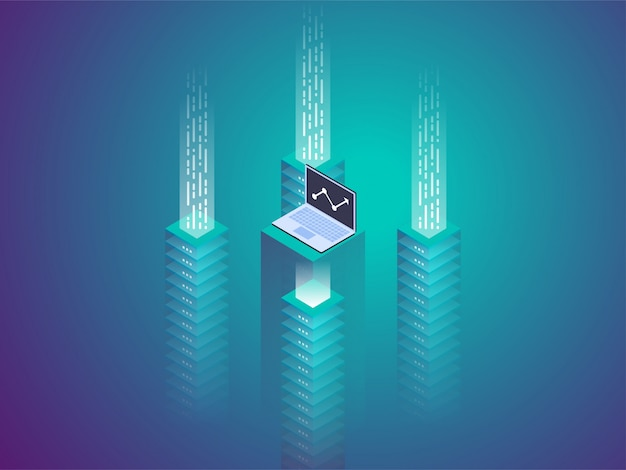 Server room rack, blockchain technology, token api access, data center, cloud storage concept, data exchange protocol. Premium Vector