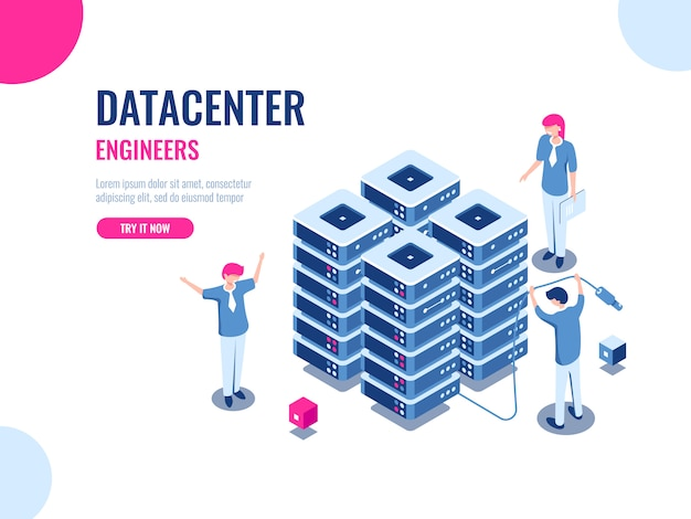 Server room rack, database and data center, cloud storage, blockchain technology, engineer, teamwork Free Vector