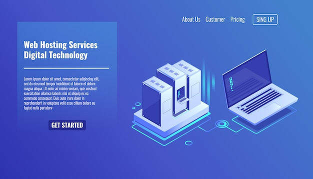 Server room rack, remote system administration, outsourcing service Free Vector