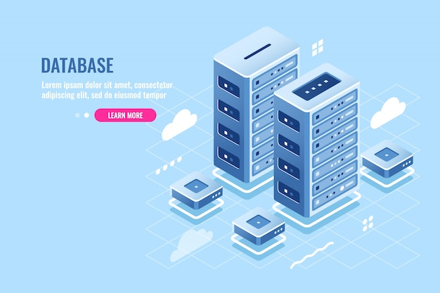 Server room, web site hosting, cloud storage, database and data center isometric icon Free Vector
