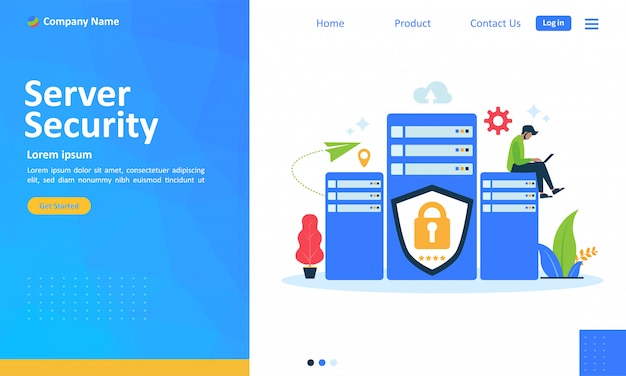 Server security system for web landing page Premium Vector