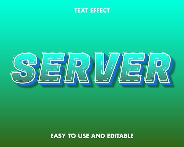 サーバーテキスト効果。編集可能なフォントスタイル。 Premiumベクター