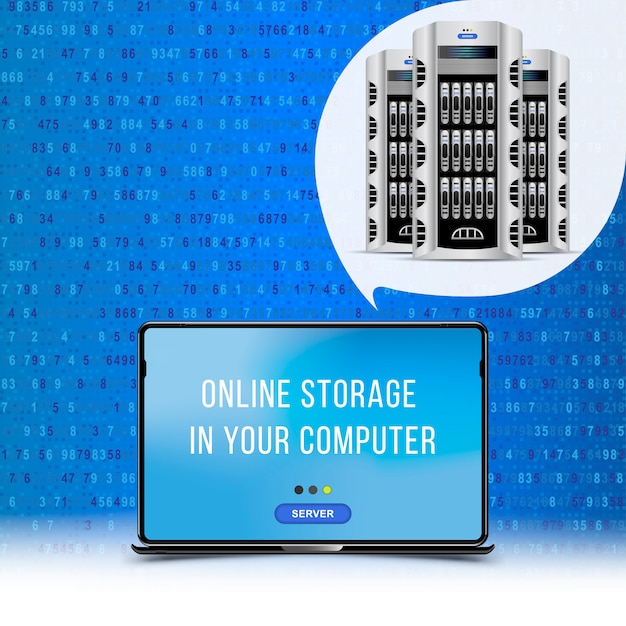 Servers data center with laptop. cloud computing concept Premium Vector