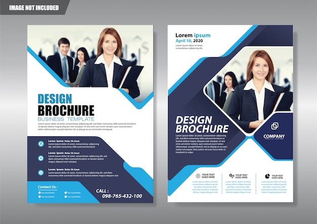 Service agency flyer with geometric shape Premium Vector