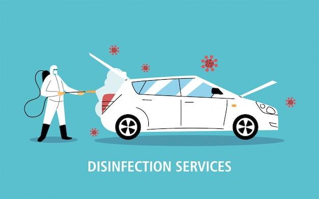 Служба дезинфекции автомобилей коронавирусом или ковидом 19 Premium векторы