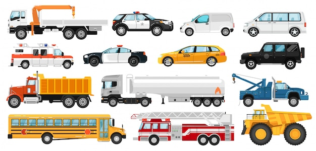 Service car set. city public special, emergency service automobile vehicles. isolated police, ambulance car, school bus, tow, dump, tanker, fire truck, taxi, van icon collection. urban auto transport. Premium Vector