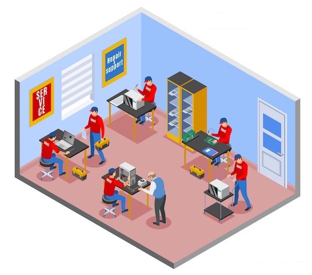 Сервисный центр изометрическая композиция с внутренним видом интерьера комнаты ремонтной мастерской с персонажами трудящихся Бесплатные векторы
