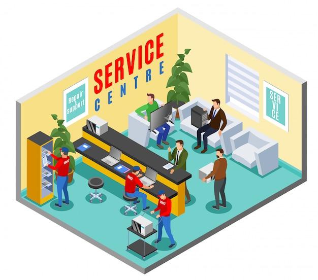 Сервисный центр изометрической внутренней композиции с офисным интерьером приемной ремонтной мастерской с человеческими персонажами Бесплатные векторы