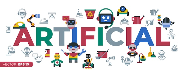 Service and cleaning home robots icons Premium Vector