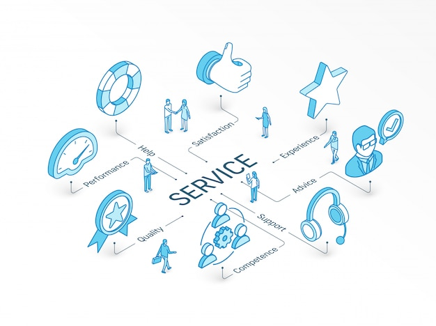 サービス等尺性の概念。統合されたインフォグラフィックシステム。人々のチームワーク。サポート、経験、アドバイス、ヘルプシンボル。パフォーマンス、品質、能力、満足度のピクトグラム Premiumベクター