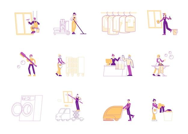 Услуга профессиональных уборщиков на рабочем месте Premium векторы