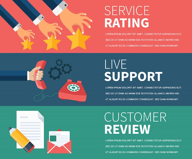 Service rating, live support, customer review banner Premium Vector
