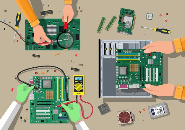 Service, recovery, warranty, fixing. assembling pc Premium Vector