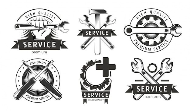 Service, repair set of labels or logos. Premium Vector