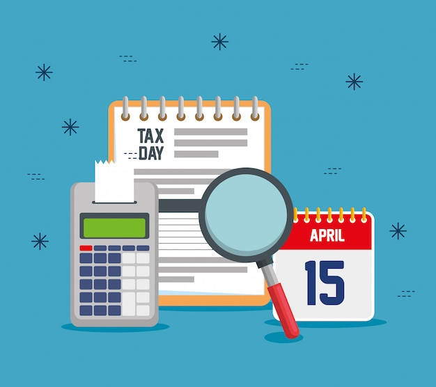 Service tax report with dataphone and calendar Free Vector