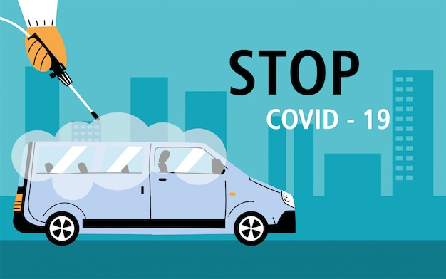 Служебная дезинфекция фургоном коронавирусом или ковидом 19 Premium векторы