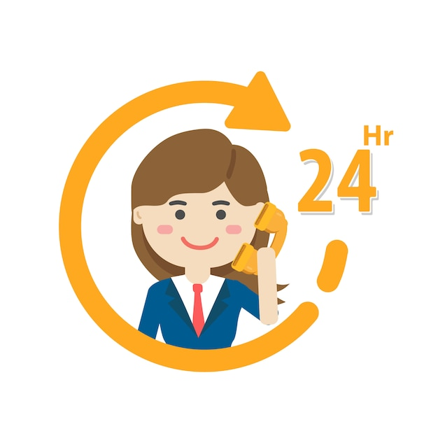 Services hours icon, customer service, call center support. Premium Vector