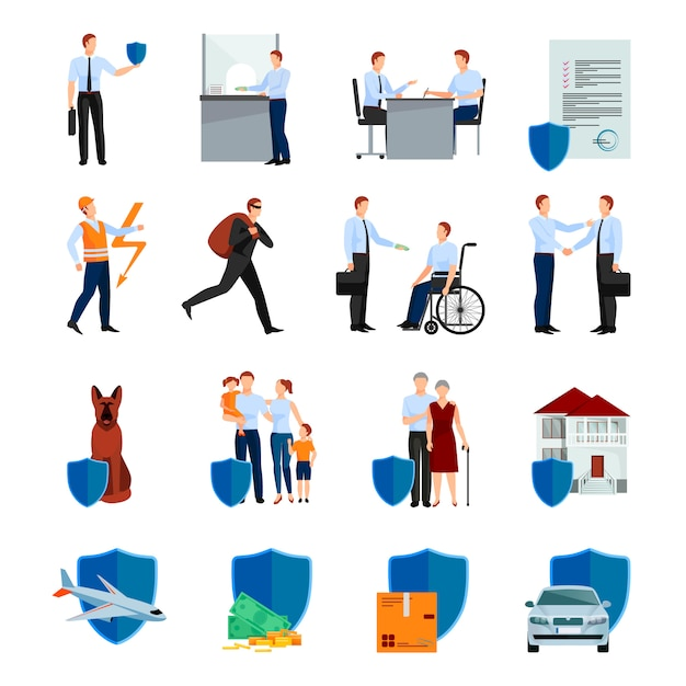Services of insurance company character set with policy negotiations security of health and property isolated vector illustration Free Vector