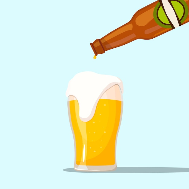Serving a beer on a blue background Premium Vector