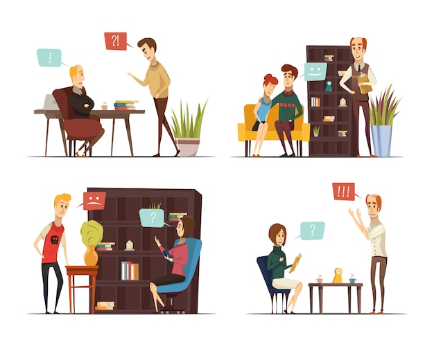 Session of psychologist flat compositions Free Vector