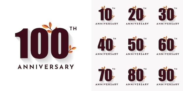 Набор 10 20 набор номеров годовщины от 30 до 100 лет Premium векторы