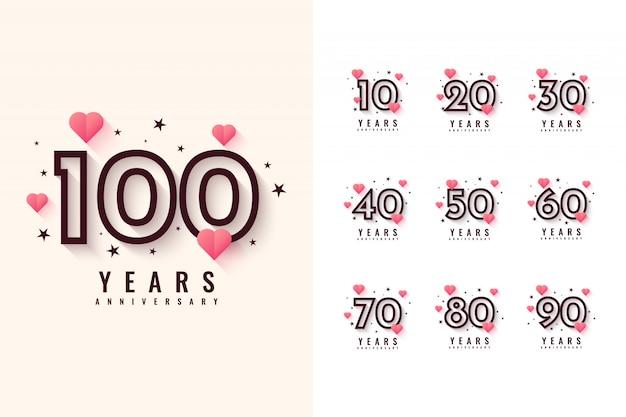 10〜100年周年記念デザイン Premiumベクター