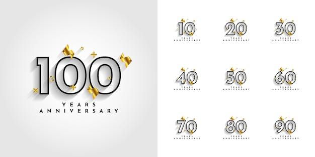 Установите 10 до 100 лет юбилейного дизайна Premium векторы
