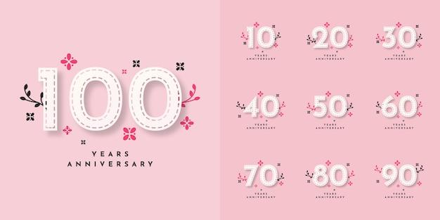 Установите 10 до 100 лет юбилейный дизайн шаблона Premium векторы