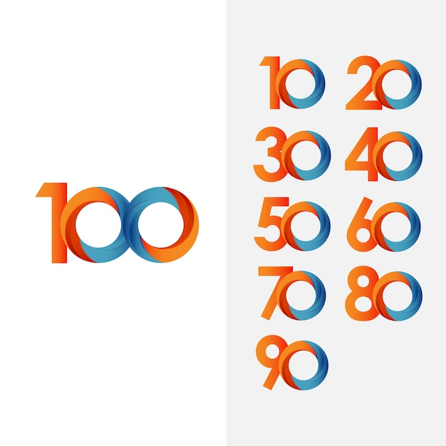 Set 100 year anniversary and number vector template Premium Vector