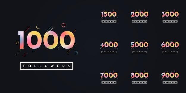 Set 1000 to 10000 followers design Premium Vector