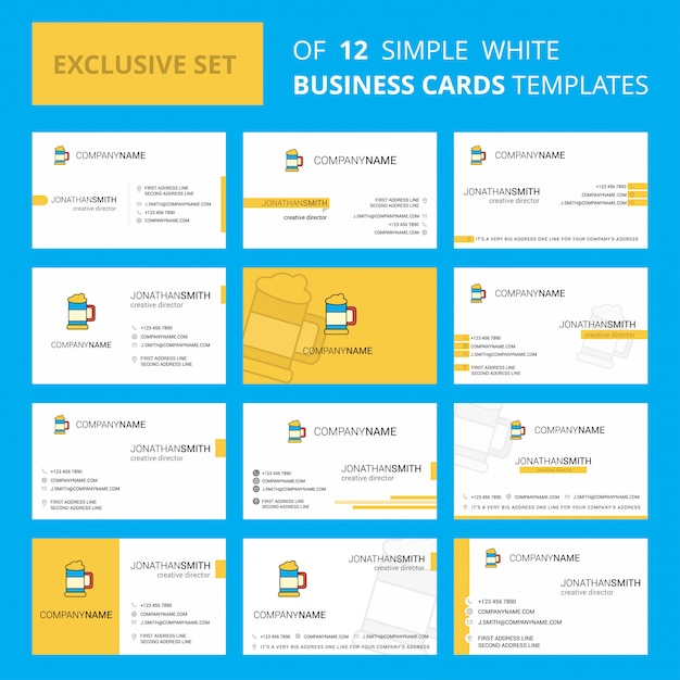 Set of 12 beer glass business card Free Vector