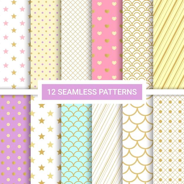 Set of 12 cute seamless patterns. Premium Vector