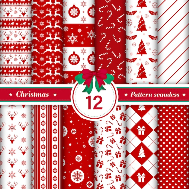 Set of 12 merry christmas pattern seamless. Free Vector