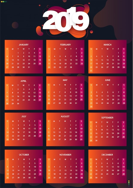 Premium Vector Set Of 12 Months Vector Illustration Of 2019 Calendar