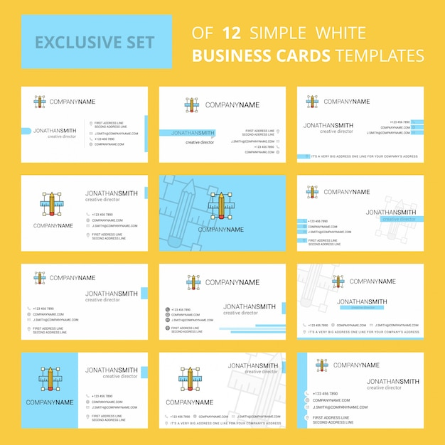 Set of 12 pencil scale creative business card template Free Vector