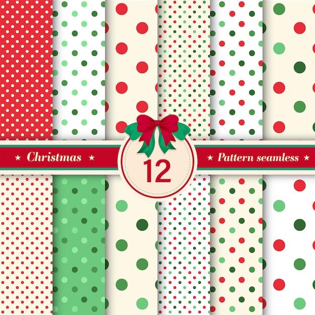 Set of 12 polka dot and glitter seamless pattern. Premium Vector