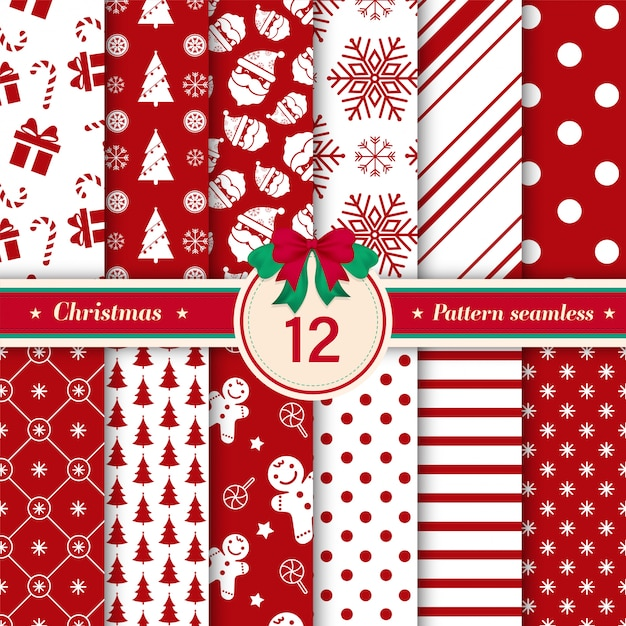 Set of 12 xmas seamless pattern red and white colors. Premium Vector