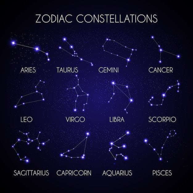 Set of 12 zodiacal constellations on the background of cosmic sky  illustration Premium Vector