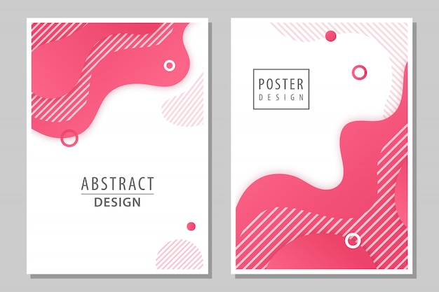 Set of 2 abstract posters. Premium Vector